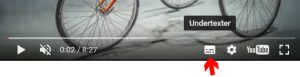 Pil som pekar på vilken ikon man ska klicka på för att visa undertexter